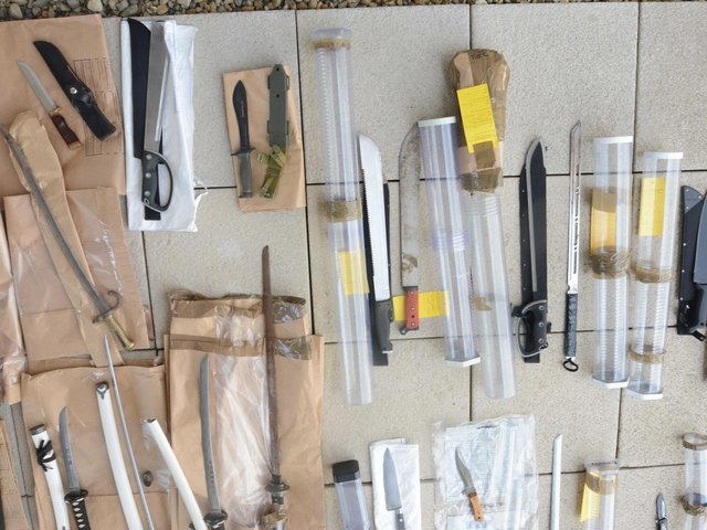 Weapons seized by police as part of an operation tackling gang members. Photo West Yorkshire Police.