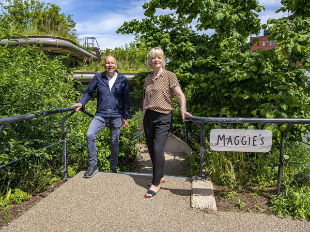 Chris and Fiona Royfe, Yorkshire assistant county organisers at the National Garden Scheme, get a sneak preview of the tour to be offered to those visiting the Maggie's Leeds centre this weekend. Picture: Tony Johnson
