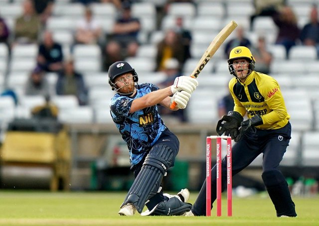 Big hit: Yorkshire's Jonny Bairstow hits a six during jis innings of 34 at Headingley. Picture: Tim Goode/PA Wire.