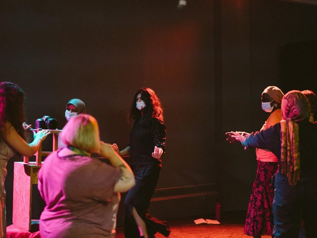 A movement workshop at the Mafwa Theatre, which is a all-women theatre group working with refugees, asylum seekers and the local community. Photo: Tom Arber
