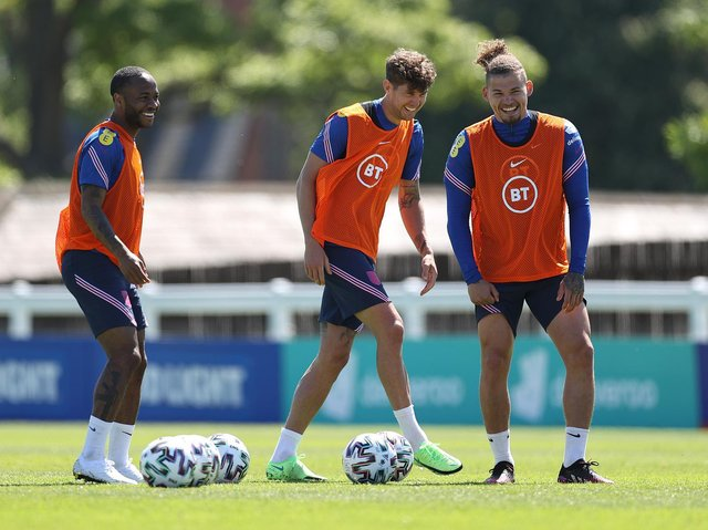Leeds United midfielder Kalvin Phillips (right) in England training. Pic: Getty