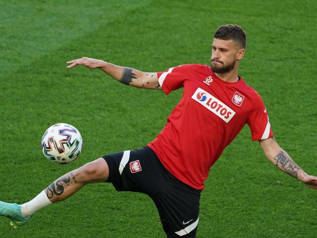 LIMBERING UP: Leeds United's Polish international midfielder Mateusz Klich in a training session at the Arena Gdansk at Poland's base camp on the eve of the start of the Euros. Photo by JANEK SKARZYNSKI/AFP via Getty Images.