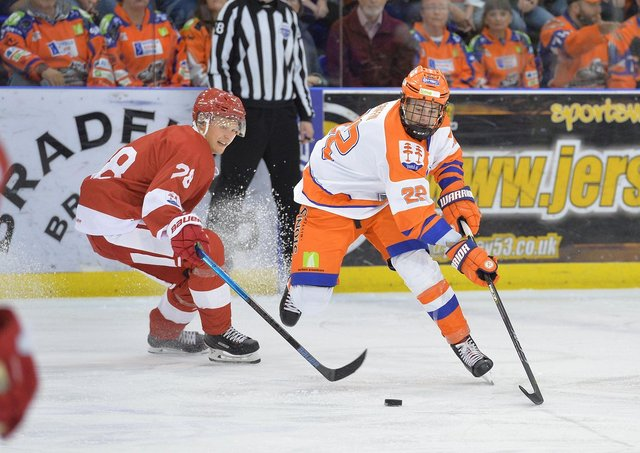 Defenceman Jordan Griffin, in action during his two-year apprenticship at Sheffield Steelers. Picture courtesy of Dean Woolley.