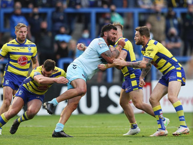 Dave Fuifita on the attack for Trinity against Warrington. Picture by Paul Currie/SWpix.com.