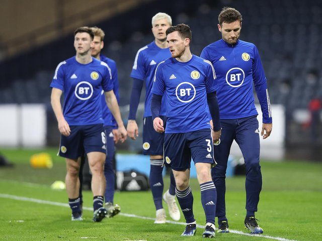 Scotland captain Andrew Robertson warms up at Hampden Park. Pic: Getty