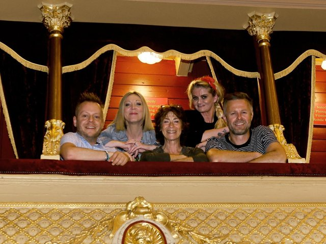 Some of the tv soap stars taking part in the 'Soap From The Box Live' shows at Leeds City Varieties. From left to right - Lee Salisbury creator and host of the shows, Kelli Hollis ex Emmerdale, Deena Paynes ex Emmerdale, Daniella Westbrook ex Eastenders and Tim Lister ex Emmerdale. (photo: Gary Longbottom)