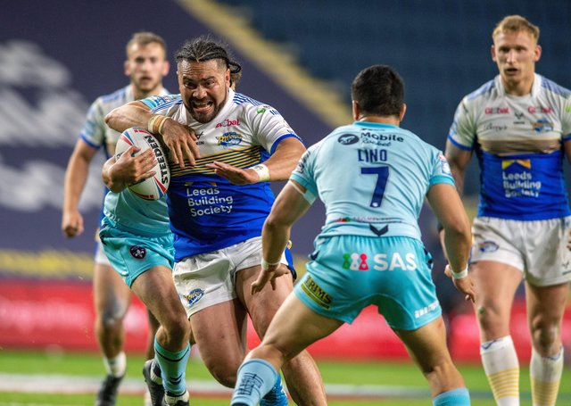 FUTURE WATCH: Konrad Hurrell on the charge for Leeds Rhinos against Wakefield Trinity.  Picture: Bruce Rollinson