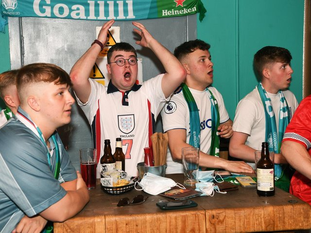 Football fans watch England v Croatia at Aire Bar in Leeds during the Euro 2020 tournament (photo: Jonathan Gawthorpe).