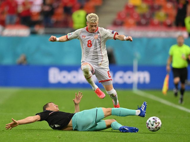 DEFEAT: For Leeds United's Gjanni Alioski, above, with North Macedonia. Photo by JUSTIN SETTERFIELD/POOL/AFP via Getty Images.