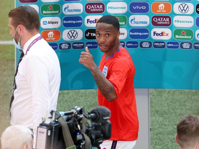 THUMBS UP: For Leeds United's England international midfielder Kalvin Phillips from Three Lions match-winner Raheem Sterling, above. Photo by Catherine Ivill/Getty Images.