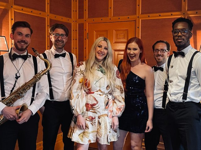Ellie Goulding and members of The Function Band at Leeds United player Luke Ayling's wedding (photo: The Function Band).