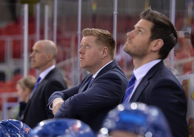 INTERESTED: Pete Russell, pictured on the GB bench with asistants Corey Neilson and Adam Keeffe. Picture: Dean Woolley.