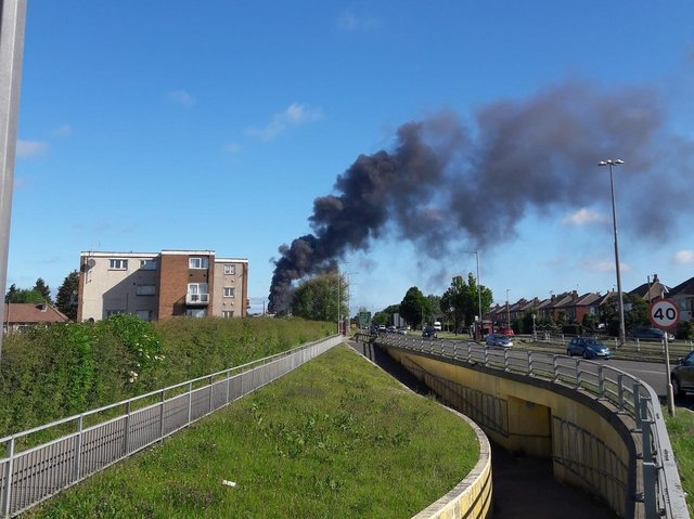Smoke rising from the Agfa factory in Seacroft (photo: Dylwyn Colbourne).