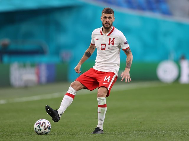 Leeds United midfielder Mateusz Klich in action for Poland at the Euros. Pic: Getty