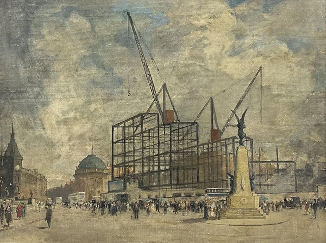 The unsigned paining of the construction of the Queens Hotel.
