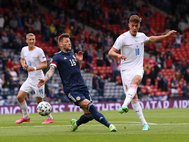 STEADY START - Leeds United's Liam Cooper was heavily involved, particularly in the first half, for Scotland in their Euro 2020 defeat to the Czech Republic. Pic: Getty