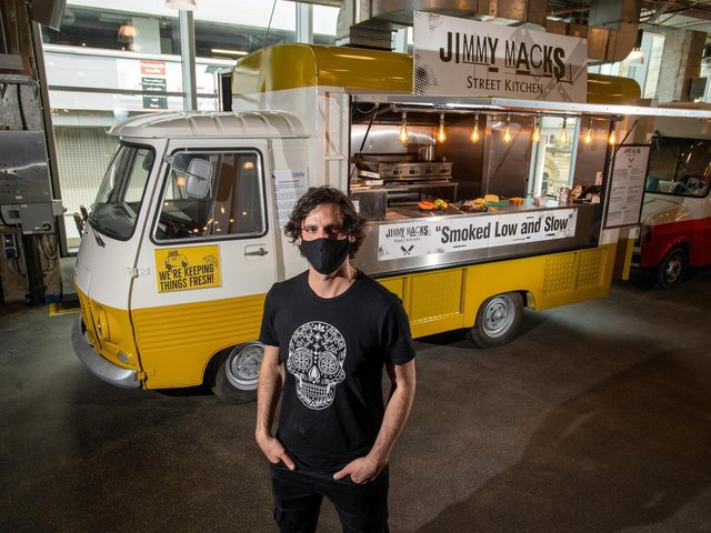 James Mackenzie is the first chef to take over Trinity Kitchen's new street food van - serving 'low and slow' smoked meats in crispy wraps