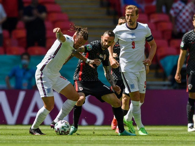 Kalvin Phillips and Harry Kane in action for England against Croatia. Pic: Getty