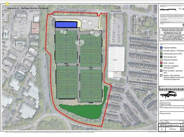 NEW SITE - The Parklife scheme has been given a proposed new home at the former Matthew Murray site, where Leeds United will no longer be building a training ground. Pic: Leeds Council