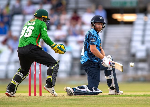Nice shot: Vikings' Jonny Bairstow reverse sweeps a four in his innings of 82 against Leicester. Picture Bruce Rollinson