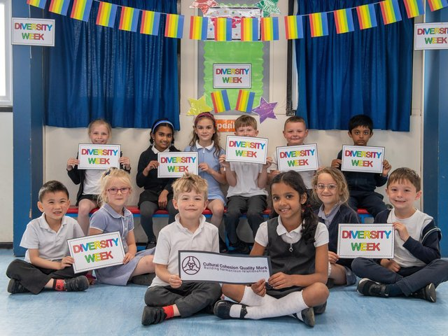Children at Morley Victoria Primary School. The school is working towards its Cutural Cohesion Quality Mark which fully supports and rewards organisations that promote a collaborative approach to Corporate Social Responsibility.