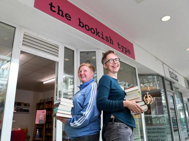 The Bookish Type customers receive a friendly welcome from owners Nicola Hargrave (left), 46, and Ray Larman, 47