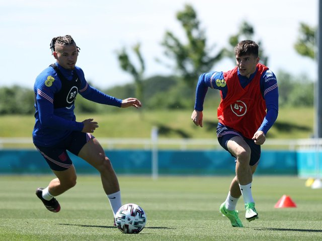 Kalvin Phillips and Mason Mount in action during England training. Pic: Getty