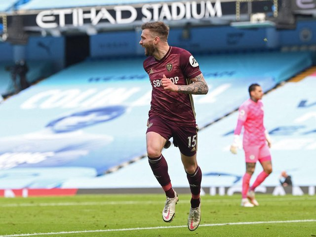 DONE IN BEFORE: Leeds United recorded an epic 2-1 success at Manchester City thanks to a late winner from Stuart Dallas, above, to start a fantastic run of results against the league's big guns back in April. Photo by MICHAEL REGAN/POOL/AFP via Getty Images.