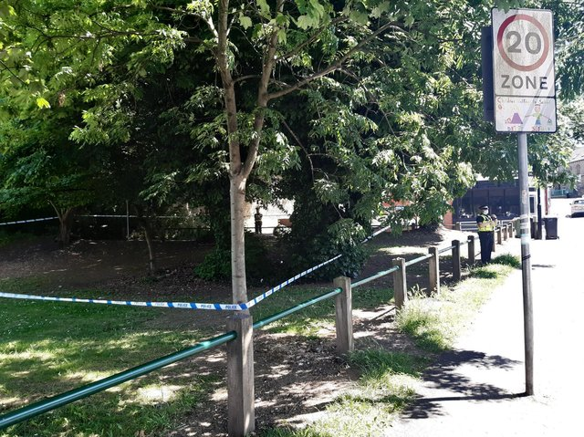 A police cordon in Burley Park after a woman reported being attacked.