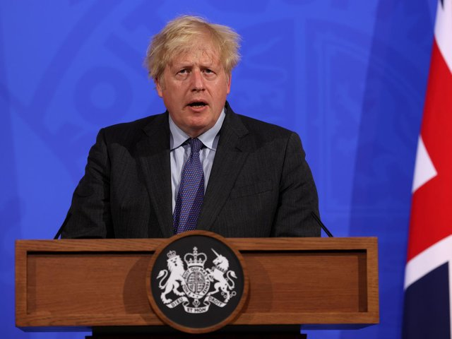 Prime Minister Boris Johnson, during a media briefing in Downing Street, London, on coronavirus. Picture date: Monday June 14, 2021. (photo: PA Wire)