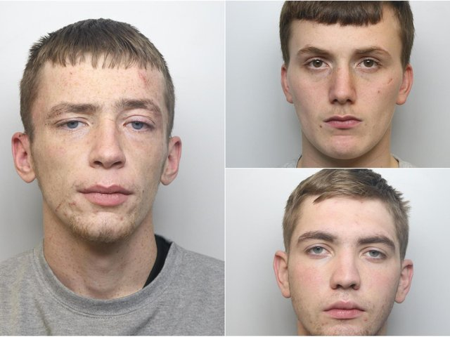 Harrison Hawkins (left), Jordan May (top right) and Matthew Rhodes have been sent to a young offender institution for their involvement in a conspiracy to burgle homes in Pudsey.