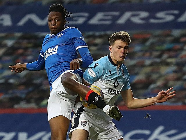 LEEDS RADAR - Joe Aribo of Rangers tangles with Leo Hjelde, who was on loan to Ross County from Celtic last season and is one of the youngsters Leeds United are monitoring ahead of their summer Under 23s recruitment. Pic: Getty