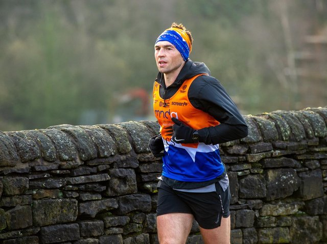 Kevin Sinfield during one of his seven marathons in seven days. Picture by Bruce Rollinson.