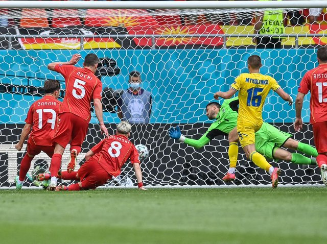 Leeds United's Gjanni Alioski scores for North Macedonia against Ukraine at the Euros. Pic: Getty