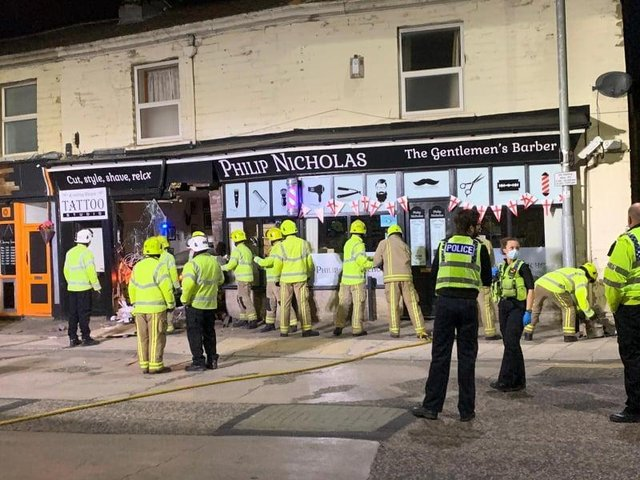 The Pudsey community has rallied to raise £1,250 in just hours to help the owners of a parade of shops destroyed in a horrific overnight incident - as a vehicle careered through the window.