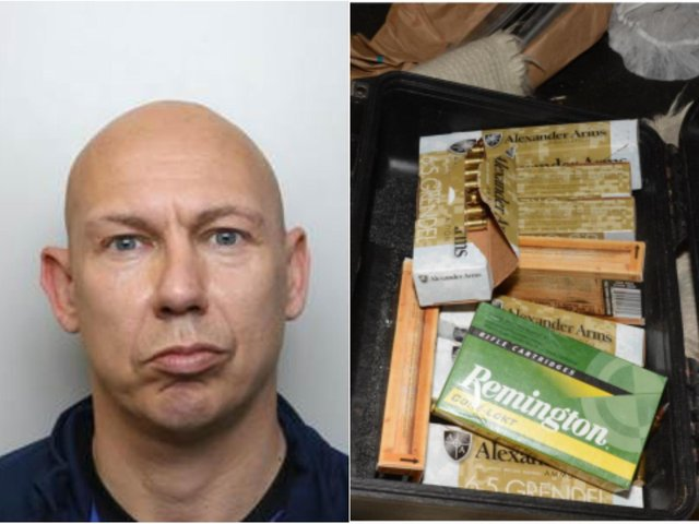 Paul Shepherd, 43, has been convicted after rifles, drugs and 200 rounds of ammunition were found in his home on Stainbeck Lane in Leeds (Photo: NCA)