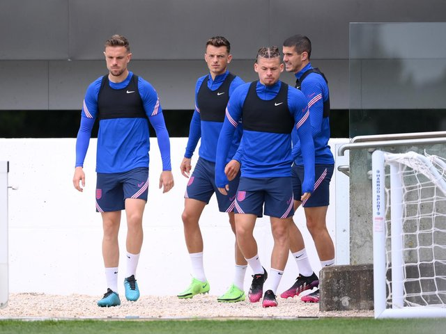 CONSISTENTY TRAINING: Liverpool captain Jordan Henderson, left, pictured alongside, left to right, Brighton's Ben White, Leeds United's Kalvin Phillips and Wolves' Conor Coady. Photo by Laurence Griffiths/Getty Images.