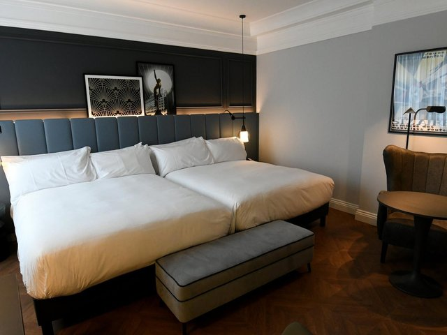 One of the bedrooms inside the newly refurbished Queens Hotel.