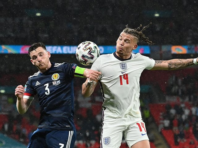 BORE DRAW - Early intensity drained out of England's Wembley clash with Scotland as the two sides settled for a 0-0 draw. Leeds United's Kalvin Phillips played 90 minutes to earn his 10th cap. Pic: Getty