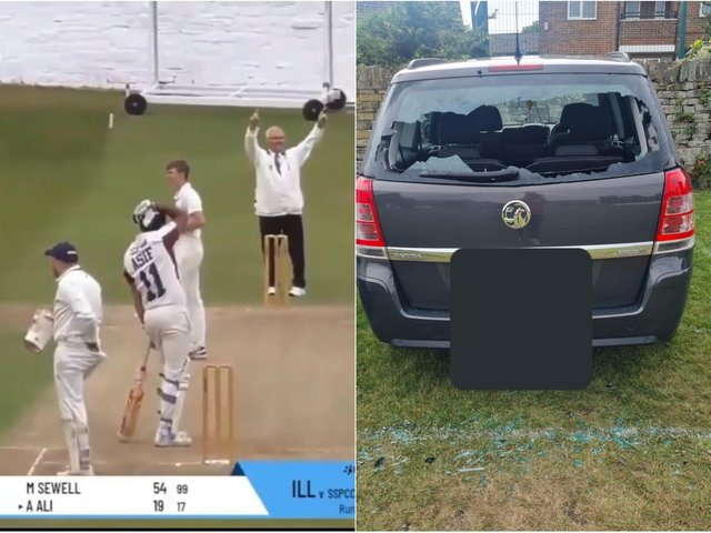 Asif Ali hit the ball into the car park and through his rear windscreen (photos: Illingworth St Mary's Cricket Club)