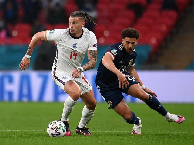 HOT TOPIC: Leeds United's England international midfielder Kalvin Phillips, left, for whom Tottenham Hotspur are reportedly eyeing up a bid for this summer. Photo by Andy Rain - Pool/Getty Images.