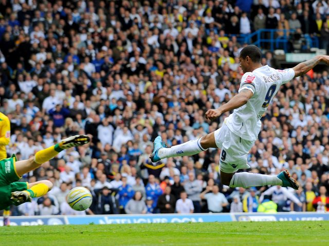 GOING UP: Jermaine Beckford fires home the winning goal against Bristol Rovers to fire Leeds United to promotion back in May 2010. Photo by Michael Regan/Getty Images.