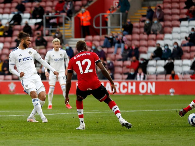 LANDMARK STRIKE: Tyler Roberts, left, nets his first Premier League goal in the 2-0 victory at Southampton. Photo by Frank Augstein - Pool/Getty Images.