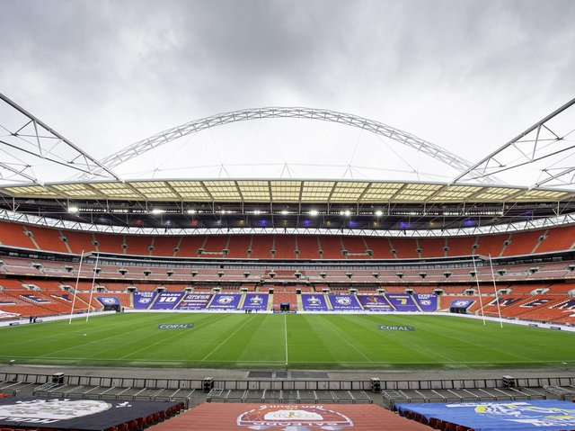 After last year's behind closed doors final, Wembley will welcome up to 45,000 fans for next month's1895 Cup and Challenge Cup showpieces. Picture by Allan McKenzie/SWpix.com.