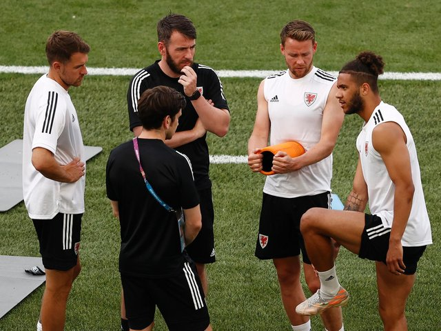 STILL WAITING: Leeds United's Tyler Roberts, right, pictured during a Wales training session ahead of Monday's Group A finale against Rome in Italy. Photo by Ryan Pierse/Getty Images.