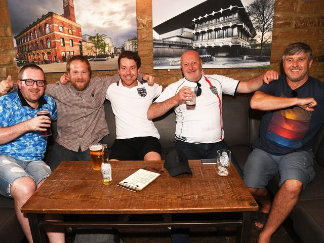 England fans enjoying getting together to watch the national side earlier in this year's Euros campaign.