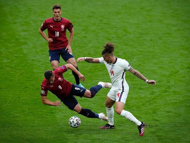 SOLID SHOW - Leeds United's Kalvin Phillips had another solid performance for England as they beat Czech Republic to top Group D at the Euros. Pic: Getty