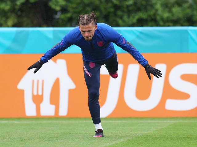 VOW: From Leeds United midfielder Kalvin Phillips, above, pictured training with England in the build-up to Wednesday night's 1-0 victory against the Czech Republic at Wembley. Photo by Catherine Ivill/Getty Images.