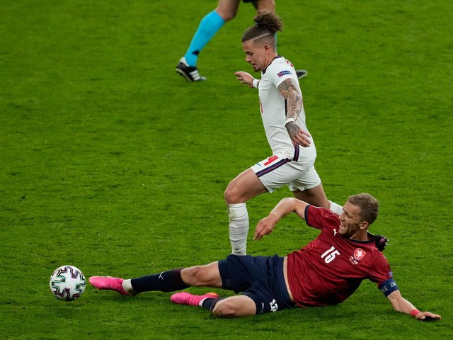 EVER PRESENT: Leeds United midfielder Kalvin Phillips looks to get away from Czech Republic's Tomas Soucek in Wednesday night's clash at Wembley. Photo by MATT DUNHAM/POOL/AFP via Getty Images.