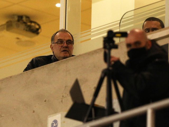 WATCHING BRIEF: Whites head coach Marcelo Bielsa in the Bloomfield Road stands last November as Leeds United's under-21s took on Blackpool in the EFL Trophy. Photo by Charlotte Tattersall/Getty Images.